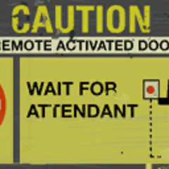 80s style caution / attendant sign featured before the elevator going to Enrichment Sphere 06.