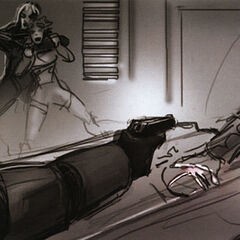 Gordon holding the Consul at gunpoint while Alyx is being held by Helena.