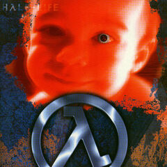 Early promotional poster for <i>Half-Life</i>, with the Lambda logo also in the baby's eye.