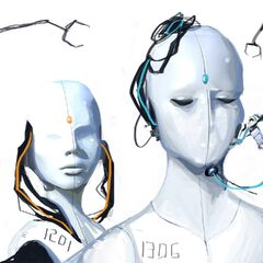 Concept art of humanoid faces, revealed during the PotatoFoolsDay ARG.