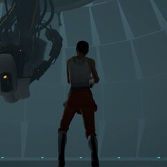 Chell facing GLaDOS in the latter's chamber.