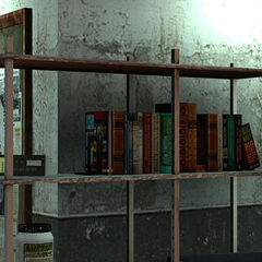 Eli Vance's books at Black Mesa East, containing one by Kleiner.