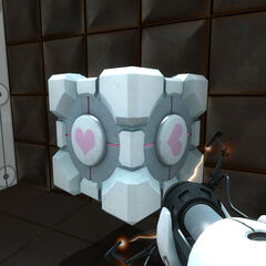 The ASHPD holding a Weighted Companion Cube in Test Chamber 17.