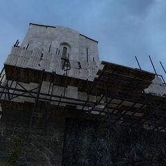 Scaffolding and the elevator below St. Olga monastery's church.