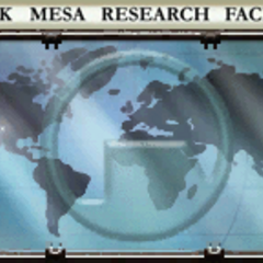 The Black Mesa name and logo on a world map seen in the Sector C lobby.
