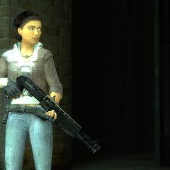 Alyx holding a shotgun in the hospital near the Technical Trainstation.