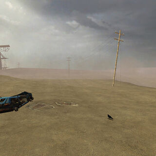 Broken headframe, wrecked car, crow, rocks and electric poles in the Wasteland as glimpsed by Gordon Freeman during the teleportation failure.