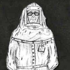 Concept art for the clean suit scientist.