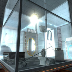 Early Relaxation Vault in Test Chamber 00, with placeholder props.