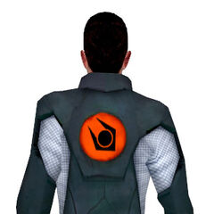 The back of the <i>Borealis</i> worker reveals the Combine logo. It is unknown why, since the ship's crew is supposed to belong to the Resistance. It is possible they were to reuse Combine worker clothes.