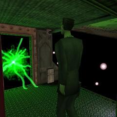 The G-Man leaving Shephard through a portal.