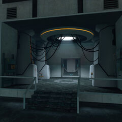 The lobby of GLaDOS' chamber.