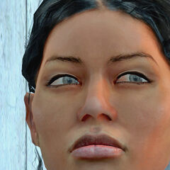 Closeup of Chell's face.