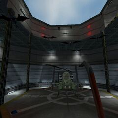 Stukabats flying at the player in an Apache hangar.