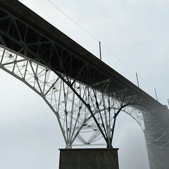 View of the bridge in the fog.