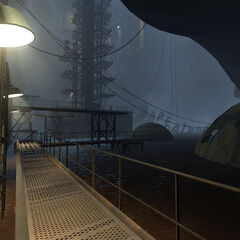 View of the platforms at Test Shaft 09's bottom, as first seen by Chell.