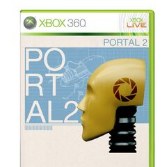 Robot head on an alternate <i>Portal 2</i> Xbox cover.