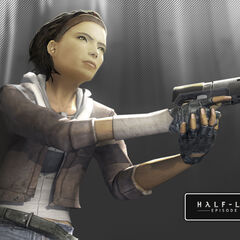 Alyx wielding her gun in a promotional image for <i>Episode One</i>.