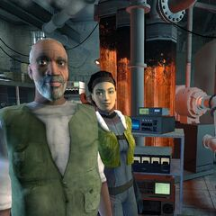 Alyx and Eli in one of the most famous pre-release screenshots for <i>Half-Life 2</i>.