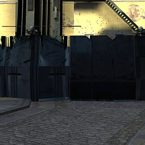 A defensive structure blocking a street in <a href=