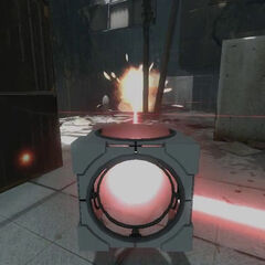 Weighted Pivot Cube redirecting a Thermal Discouragement Beam at a Sentry Turret, making it explode after setting it on fire.