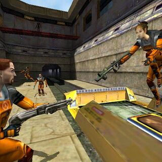 Early multi-player characters with early SPAS-12 and RPG in an early version the deathmatch map