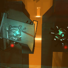 Two idle generators. The player must make an Energy Ball ricochet behind the broken transparent platform to power up the left one.