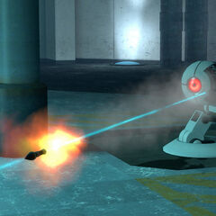 The Rocket Sentry firing into a portal after locking on Chell.