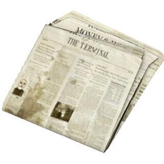 Newspaper model, front.