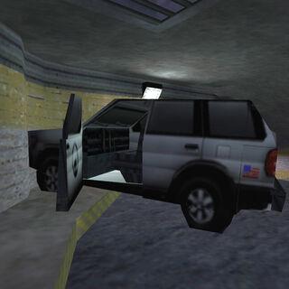 Crashed SUV.