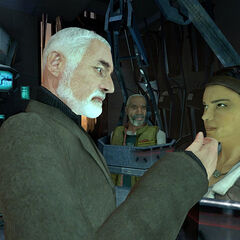 Alyx about to spit at Breen's face, while being held in a Combine cell with her father and Gordon.