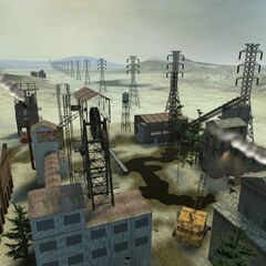 Various prefabs for the quarry town, with the Wasteland around them.