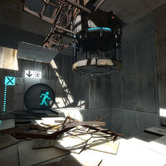 Improved Vital Apparatus Vent in a ruined Test Chamber 04 in <i>Portal 2</i>, taken from the same spot as in the previous image.