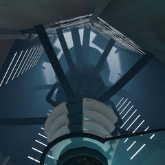 Drop-down view of GLaDOS' generator, from her discs and upwards.