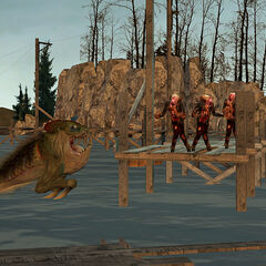 The Ichthyosaur jumping at the Zombies, in the <i>Half-Life 2</i> Beta.