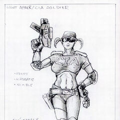 Concept art for the CIA Female Soldier.