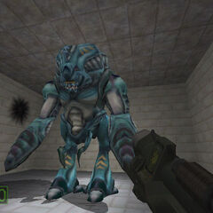 RPG test on a Gargantua in an early <i>Half-Life</i> build, showing yellow stripes on the creature's legs.