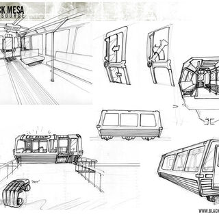 Concept art for the tram.