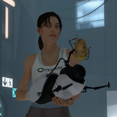 Chell with GLaDOS attached to the Portal Gun.