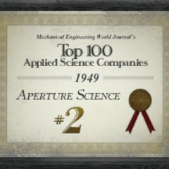 Award for Aperture Science as the 2nd best applied sciences company.