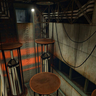 Traps in a typical maintenance area of the Aperture Laboratories, mirroring traps seen in the <i>Half-Life</i> chapter <i><a href=