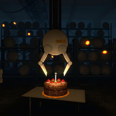 GLaDOS activating the Personality Cores and extinguishing the cake's candle with one of her remotely activated mechanical arms.