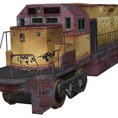 Unused freight train locomotive, resembles EMD GP40 or GP60.