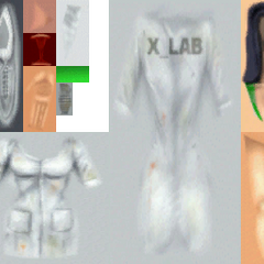 Texture files for the cut female scientist from the <i>Half-Life: Source</i> files. She appears frightened, as most of the old scientist face textures.