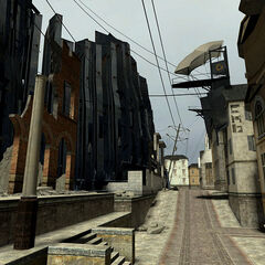 Ruined City 17 street along the prototype City 17 Inner Wall.