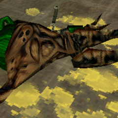 A Vortigaunt with a knife on his back, as viewed by Adrian Shepard.