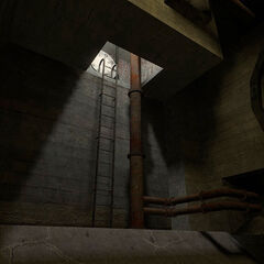 Ladder in the sewers.