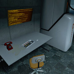 Desk and Aperture Science Red Phone in the lobby of GLaDOS' Cchamber.
