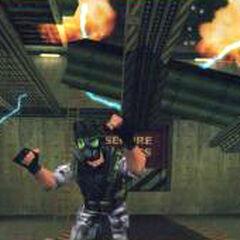 Early screenshot with Shephard running away.