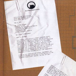 Freeman's letter of acceptance to Black Mesa, where Kleiner is mentioned, as it appears in the instruction manual of the PlayStation 2 version of <i>Half-Life</i>.